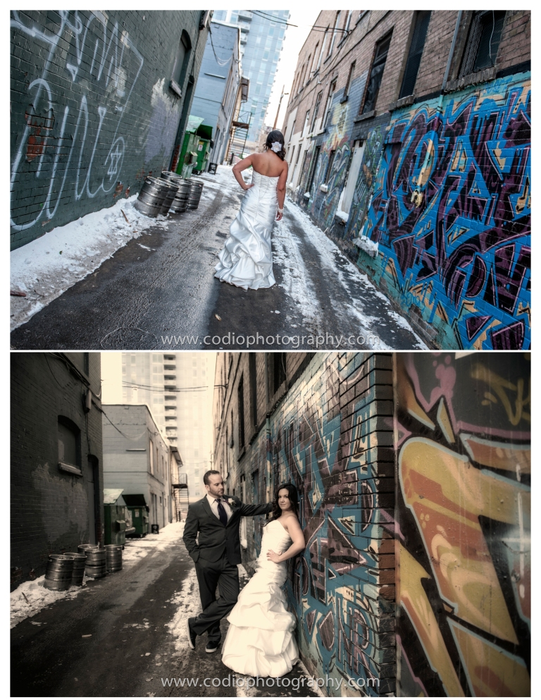 Wedding photos with graffitti