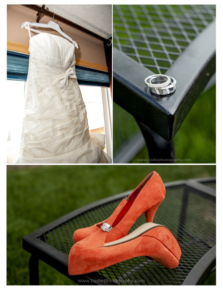Wedding dress, shoes and rings