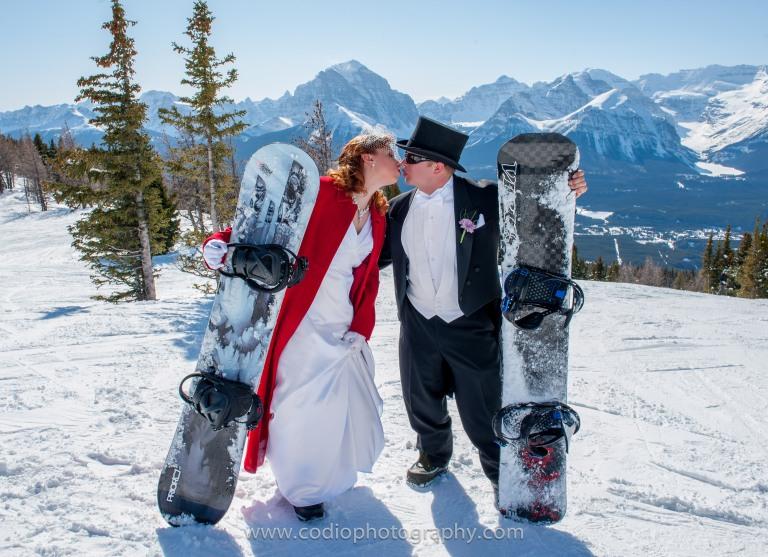 snowboarding wedding couple