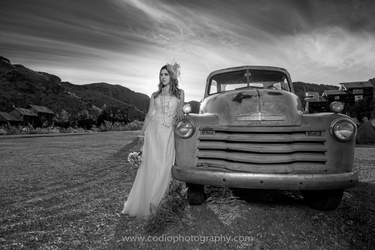 old truck and bride