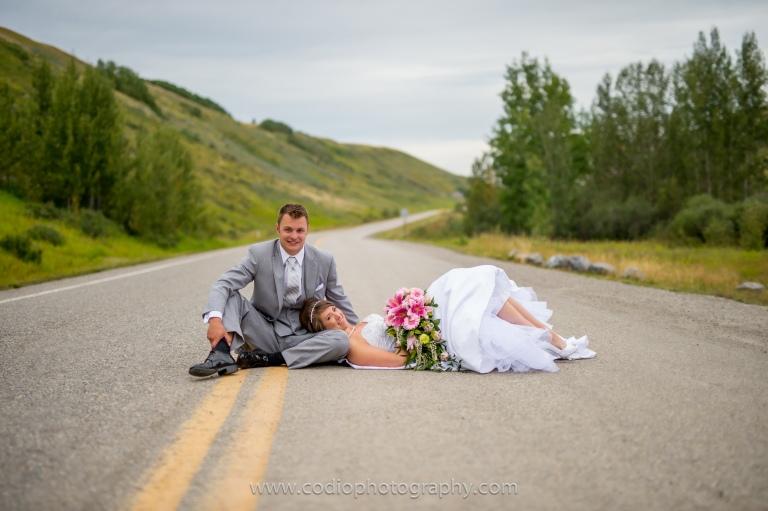 Bride and groom, calgary wedding, highway