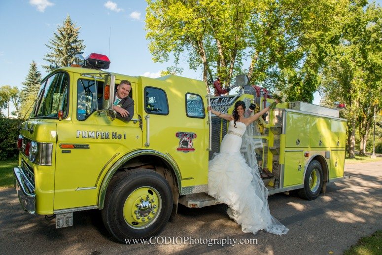 wedding party Fire truck