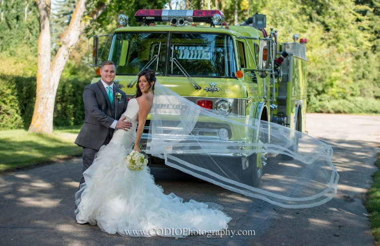 fire truck bride and groom